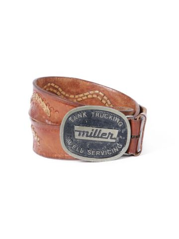 Brown Leather Tooled & Laced Western Belt w/ Miller Metal Buckle