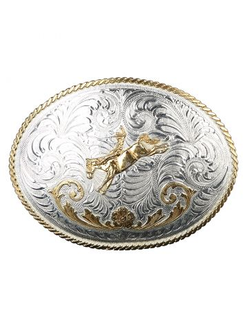 Justin Silver & Gold Oversized Rodeo Belt Buckle