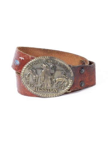 80s Brown Tooled Painted Western Belt w/ Rodeo Buckle