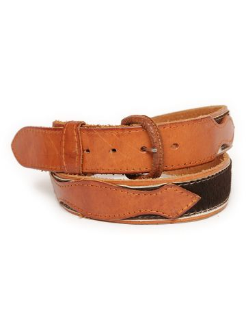 70s Cowhide & Tan Leather Belt